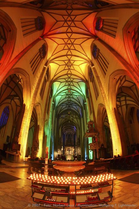 "Stadtillumination - Illumination - Basilika St. Ulrich und Afra ""Ulrichskirche"" Stadt Augsburg © 2007 - Foto: Norbert Liesz / Illumination: Wolfgang F. Lightmaster"