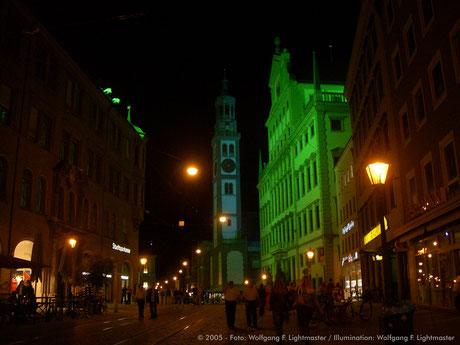 Stadtillumination - Illumination - Rathaus, Perlachturm Stadt Augsburg © 2005 - Foto: Wolfgang F. Lightmaster / Illumination: Wolfgang F. Lightmaster
