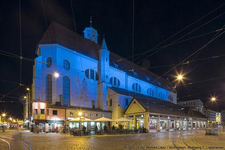 "Illumination Stadt Augsburg - Moritzkirche - ""Augsburg strahlt"" Stadtillumination Augsburg 05.08. bis 09.08.2015 © 2015 - Foto: Norbert Liesz / Illumination: Wolfgang F. Lightmaster"