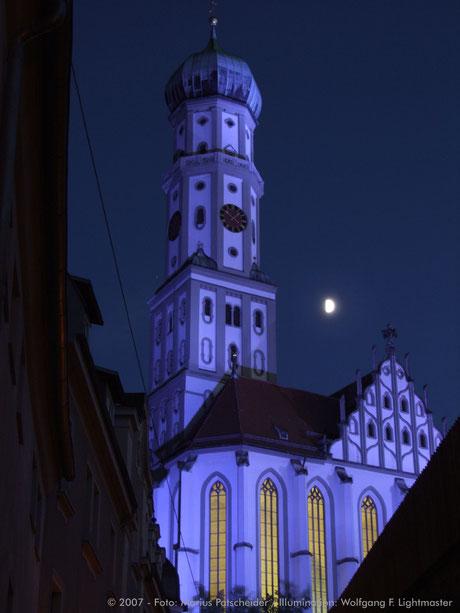 "Stadtillumination - Illumination - Basilika St. Ulrich und Afra ""Ulrichskirche"" Stadt Augsburg © 2007 - Foto: Marius Patscheider / Illumination: Wolfgang F. Lightmaster"
