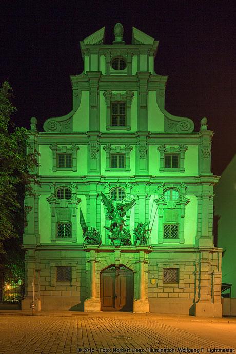 "Illumination Stadt Augsburg - Zeughaus - ""Augsburg strahlt"" Stadtillumination Augsburg 05.08. bis 09.08.2015 © 2015 - Foto: Norbert Liesz / Illumination: Wolfgang F. Lightmaster"