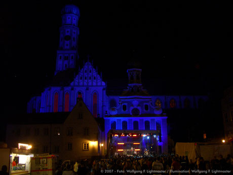 "Stadtillumination - Illumination - Basilika St. Ulrich und Afra ""Ulrichskirche"" Stadt Augsburg © 2007 - Foto: Wolfgang F. Lightmaster / Illumination: Wolfgang F. Lightmaster"