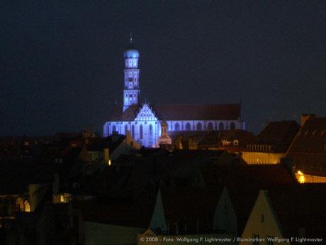 "Stadtillumination - Illumination - Basilika St. Ulrich und Afra ""Ulrichskirche"" Stadt Augsburg © 2008 - Foto: Wolfgang F. Lightmaster / Illumination: Wolfgang F. Lightmaster"