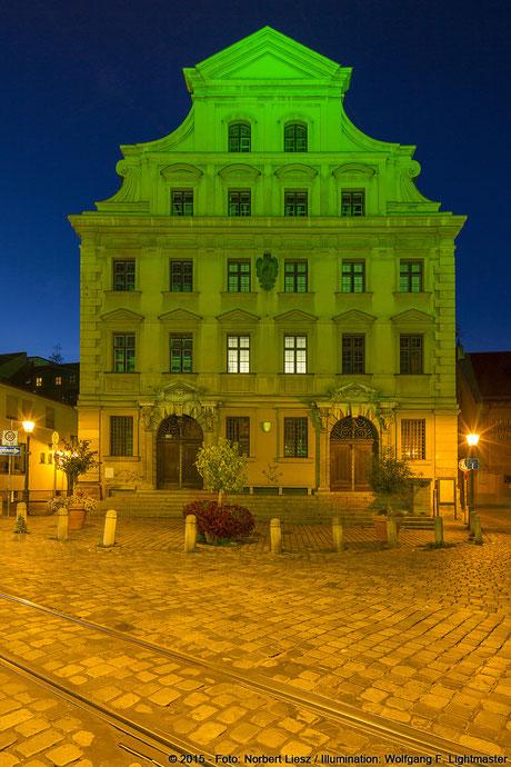 """Illumination Stadt Augsburg - Stadtmezg - """"Augsburg strahlt"""" Stadtillumination Augsburg 05.08. bis 09.08.2015 © 2015 - Foto: Norbert Liesz / Illumination: Wolfgang F. Lightmaster"""
