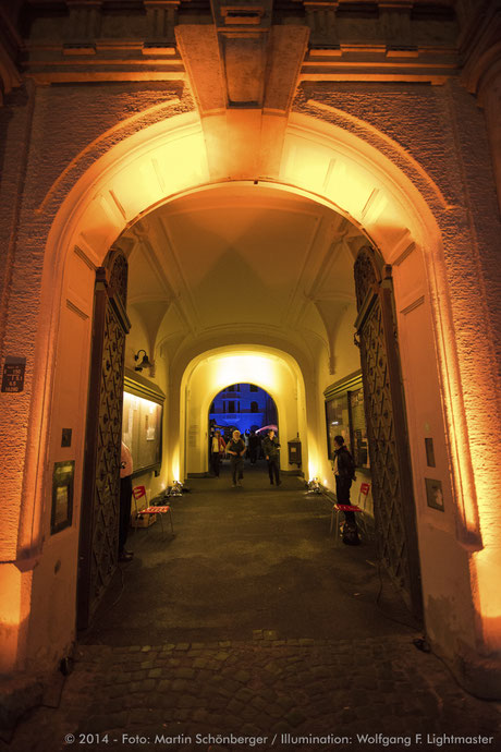 Stadtillumination - Illumination - Bürgerhof Stadt Augsburg © 2014 - Foto: Martin Schönberger / Illumination: Wolfgang F. Lightmaster