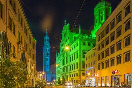 """Illumination Stadt Augsburg - Perlachturm, Rathaus - """"Augsburg strahlt"""" Stadtillumination Augsburg 05.08. bis 09.08.2015 © 2015 - Foto: Norbert Liesz / Illumination: Wolfgang F. Lightmaster"""