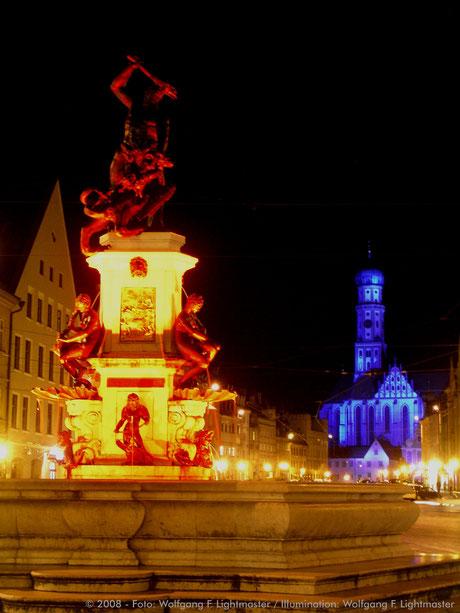 Stadtillumination - Illumination - Herkulesbrunnen / Ulrichskirchen Stadt Augsburg © 2008 - Foto: Wolfgang F. Lightmaster / Illumination: Wolfgang F. Lightmaster