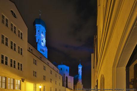 "Illumination Stadt Augsburg - Heilig Kreuz Kirchen - ""Augsburg strahlt"" Stadtillumination Augsburg 05.08. bis 09.08.2015 © 2015 - Foto: Norbert Liesz / Illumination: Wolfgang F. Lightmaster"