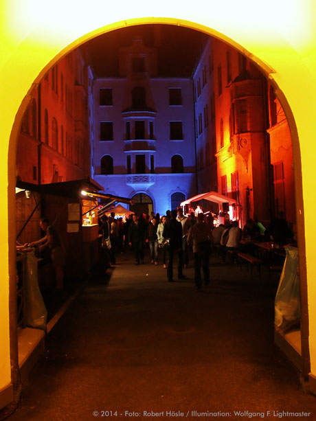 Stadtillumination - Illumination - Bürgerhof Stadt Augsburg © 2014 - Foto: Robert Hösle / Illumination: Wolfgang F. Lightmaster
