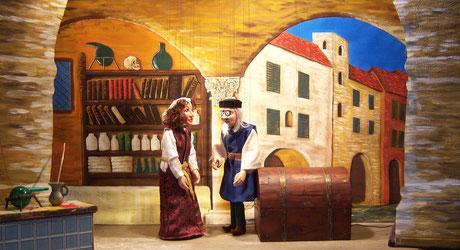 Marionettentheater Märchen an Fäden - Scheintod mit Folgen (nach Boccaccio, Dekameron) - Dottore Mazzeo und Donna Chiara