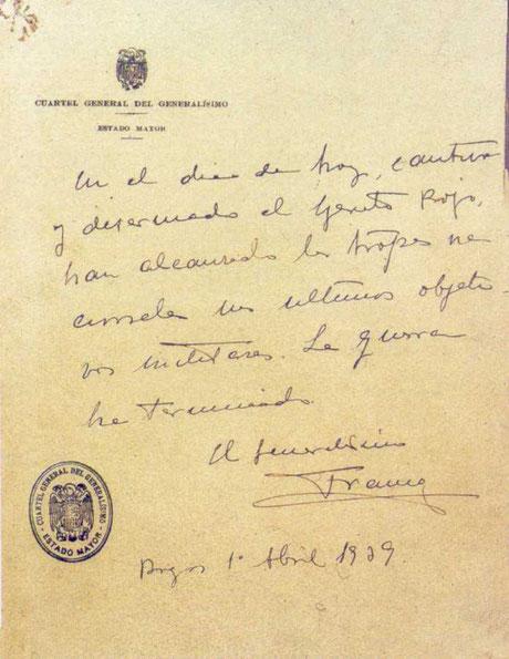 Franco unterzeichnete in Burgos am 1. April 1939 das Ende des Bürgerkriegs, Foto: öffentliches Dokument, gemeinfrei