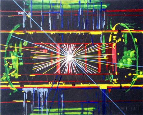 Ellen Roß: Teilchenbeschleuniger, 2012, Acryl auf Pappe, 15 x 20 cm, Galerie SEHR, Lange Nacht der Museen Koblenz