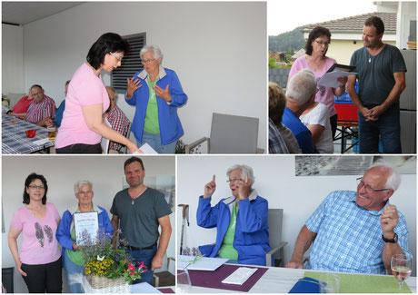 """Lisbeth Brogle wird mit einer Urkunde für 40 Jahre """"Sitzplatz-Reservation"""" geehrt"""