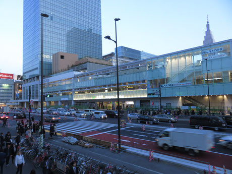 The bus terminal at Shinjuku Station is right next to the South Exit