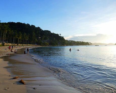 Las Cabanas Beach, El Nido Palawan Sonnenuntergang
