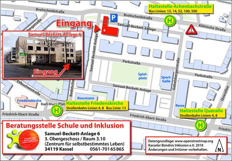 Übersichtplan: Lage der Beratungsstelle und der umgebenden Bus- und Straßenbahn-Haltestellen