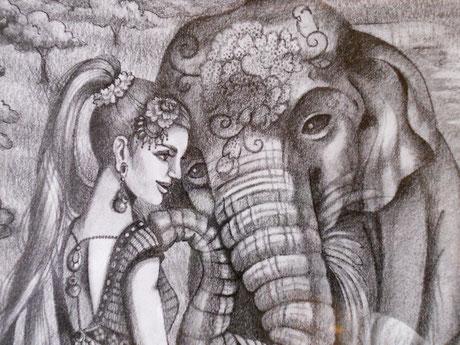 ゾウと人間の絆 絵画 楽園のアート 立花雪 YukiTachibana