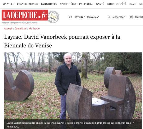 Biennal de Venise Layrac David Vanorbeek Sculptures abstraites monumentales metal