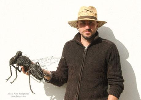 David vanorbeek sculptures d'insectes en fil de fer