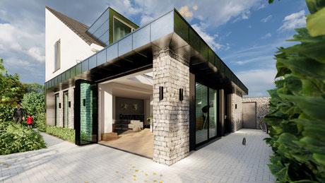 3D ontwerp rietgedekte villa Baarland