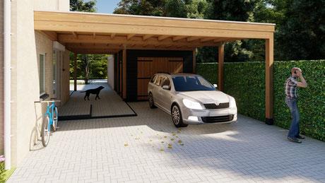 3D ontwerp carport met berging te Vlissingen