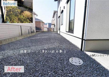 安佐南区 防草シート+砕石・土間コンクリート