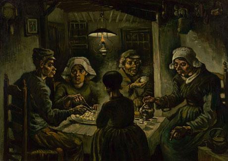 Si, questi sono i mangiatori di patate olandesi di Van Gogh, ma rende bene l'idea.