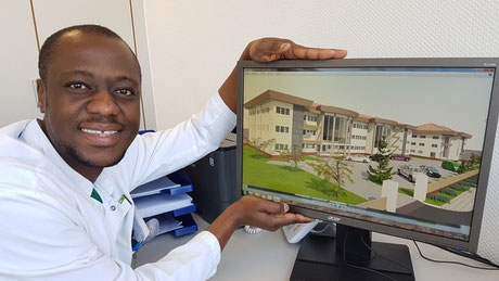 Dr. med. Samuel Okae, Initiator und Ideengeber des Projektes. Hauptberuflich Facharzt für Unfallchirurgie und Orthopädie, Dortmund in Deutschland. Bildquelle: Hilfe für Krankenhausbau und Nothilfe in Ghana e.V., Dortmund