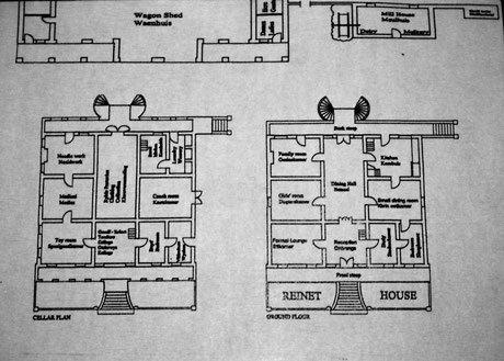 overview map of bith floors and cellar of the Reinet House in Graaff-Reinet, South Africa.