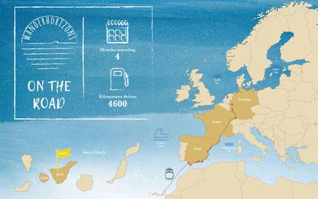 europa, karte, auropakarte, vanlife, wohnmobil, reise, travel, portugal, frankreich, spanien, kanaren, teneriffa, la gomera, reiseroute, route, vw bus, bulli, reisemobil, campervan