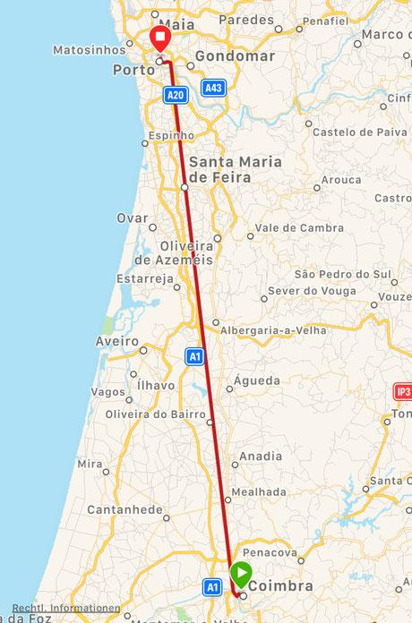 Zugfahrt von Porto Oporto nach Coimbra, Coimbra nach Port, gerade Linie, direkte Route, Atlantik, Brücke, Portwein, Likörwein, der Hafen von Porto, unterwegs auf den camino, Kurztrip nach Porto, günstig, umsonst, lecker essen, Hafenrundgang, Stadtrundgang