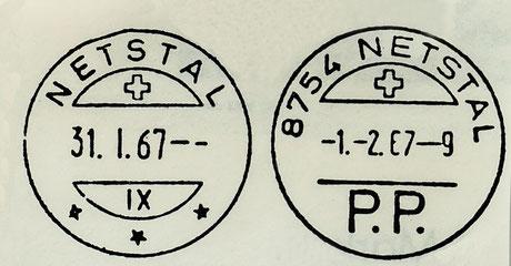 Stempel vor und nach der Einführung der Postleitzahlen.