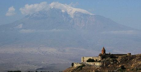 Monasterio Khor Virap bajo el monte Ararat