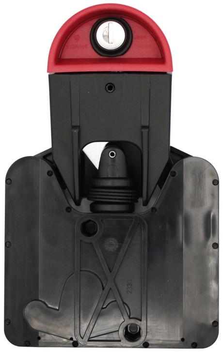Das SUDHAUS 2300 Mülltonnenschloss. Das Deckeloberteil wird mit dem Schließzylinder geöffnet. Das Deckelunterteil rastet sicher in das Tonnenteil ein. Durch ein eingebautes Gewicht im inneren des Tonnenteils, öffnet das Schwerkraftschloss automatisch.