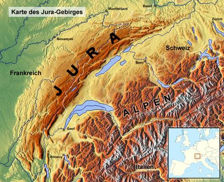 Juragebirte auf Karte https://de.wikipedia.org/wiki/Jura_%28Gebirge%29#/media/Datei:Jura_TopoMap.png