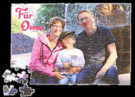 Fotopuzzle mit gestaltetem Familienfoto