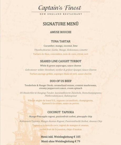 Das Signature Menü im Restaurant Captain´s Finest