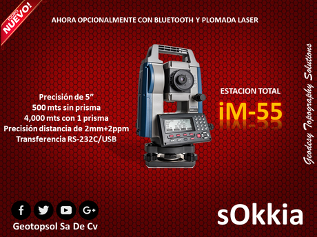 sokkia im55 con plomada optica y bluetooth