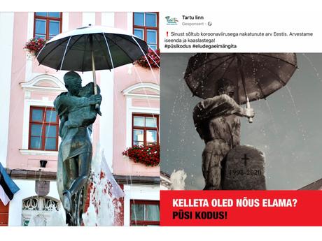 """Dieses Plakat hängt in ganz Estland: """"Ohne wen bist du einverstanden zu leben? Bleib Zuhause!"""""""