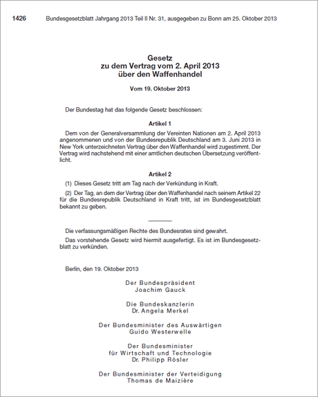 PDF-Download: Bundestag: Gesetz zu dem Vertrag vom 2. April 2013 über den Waffenhandel