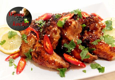 Chicken Wings Grill Spieße Schaschlik Asia Style mit Chili Mango Sauce Glasur