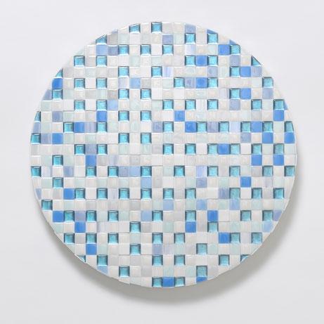 Square -Becomig One with Nature-   Φ40.9 cm  使用画材/ ラピスラズリ、水晶、アズライト、トルコ石、墨、カルサイト、アルミニウム箔、樹脂、アクリル絵具