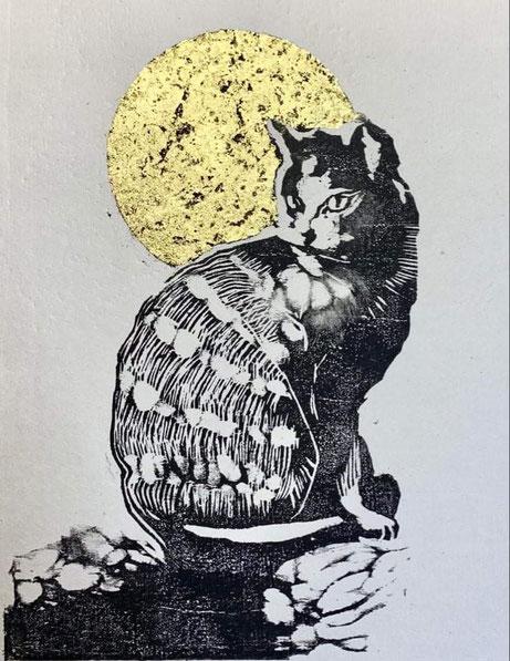 「都の月をばながめ」  21×15cm    木版画、金箔