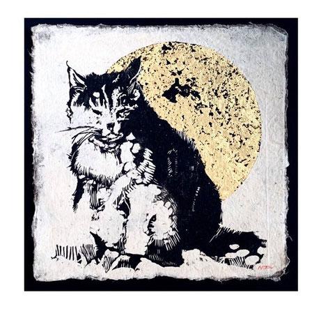 「考え事」 (230x230mm) 木版画・金箔