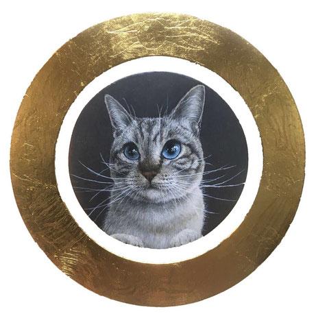 タイトル:「inspiration」  サイズ:直径144mm  技法:黄金テンペラ