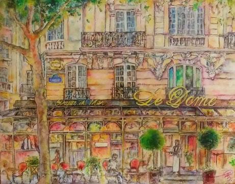 「モンパルナスのカフェ」 F6 油彩