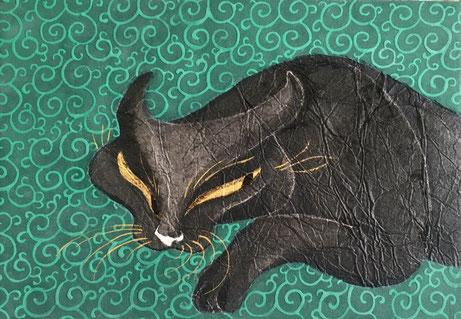 「探求」 和紙 墨 金泥 岩絵の具 膠 金箔 F3