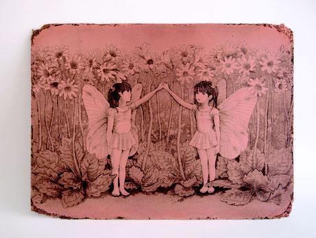 「ひみつのいりぐち」  インク/銅    150x200mm