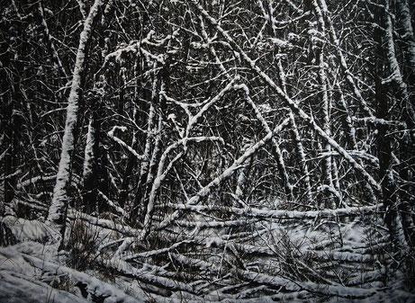 Waldansicht     1,10 x 0,80 m     Acryl auf Holz  / acrylic on wood
