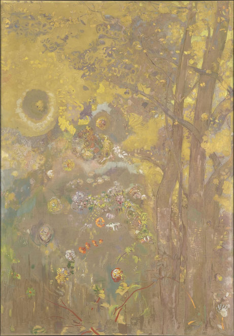 《黄色の背景に樹々》パネルの1枚。1901年